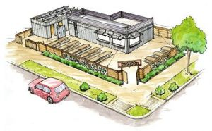 Drawing of Sacramento's First Cargo Container Bar